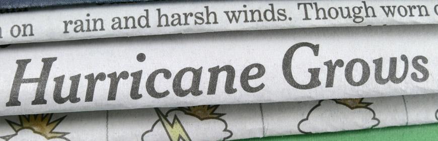 newspaper headline of coming hurricane